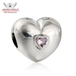 charm clip lock Coupons - Memnon Jewery Heart Silver Stopper Clip charms Bead with Pink Zircon Stone 925 Sterling Silver Heart Lock Clip Beads Fit Bracelets DIY KT064