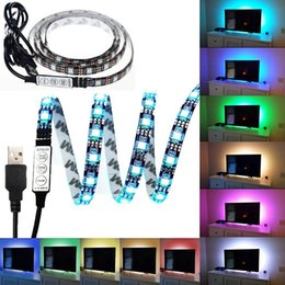 Wholesale Background Strip - 1M 3.28Ft Multi-colour Flexible 5V USB LED Strip 30leds 5050 RGB LED Strip Light with Mini Controller For TV PC Laptop Background Lighting
