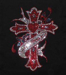 Wholesale rhinestone cross transfers - 2017 CROSS new hot fashion clothing,Garment,Shoes Cute hotfix rhinestones heat transfer design iron on motifs patches,rhinestone applique
