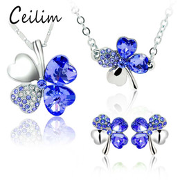 Wholesale Leaf Pendant Silver Earrings - 2017 Fashion Petal Wedding Jewelry Sets Four Leaf Clover Pendant Necklaces for women multicolor Crystal Bracelet Rhinestone Stud Earring