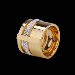 Wholesale Middle East Beauty - New fashion Zircon Crystal Titanium Stainless Steel Rings for Women Men Wedding Jewelry Three Layers Beauty anillos Female Ring accessorize