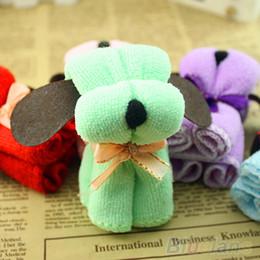 Wholesale Cotton Washcloths - Wholesale- 5pcs Dog Cake Shape Towel Cotton Washcloth Wedding Gifts Present