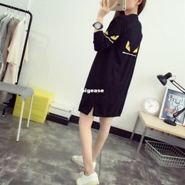 Wholesale Korean Fashion Cardigan - Wholesale-Women's Korean Style Monster Eyes Pattern Long Sweater Casual Wool Blends Knitted Black Cardigans Loose Poncho Cape Sweaters 916