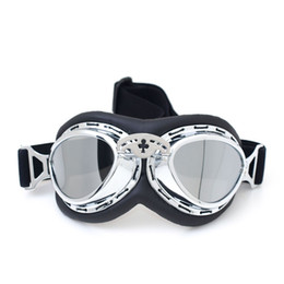 Wholesale Goggle Motorcycle Silver Lens - 2017 MJMOTO Helmet Goggles Smoking Lens Motorcycle Goggle Vintage Pilot Biker Leather For Anti Wind Eye Protection Goggle Silver