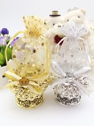 Wholesale Silver Tin Pails - Ornate Wedding Favor Candy Tins with Rhinestone Ribbon Rose Polka Dots Unique Gift Package for Party Decoration