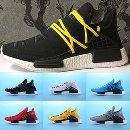 Wholesale Cotton People - New NMD HUMAN RACE Williams Pharrell x NMD HumanRace People Racing Shoes HumanRace White Black Yellow shoeslace NMD running shoes EUR 36-45