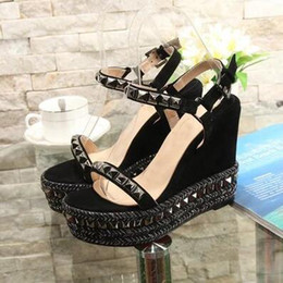 Wholesale Espadrille Sandals - Fashion Women Brand Cataclou Studded Braid-Trimmed Wedge Sandals Cataclou Suede Leather Platform Espadrilles Ankle Strap Sandals