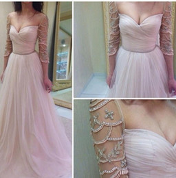Wholesale Long Delicate Prom Dresses - 2017 New Sexy Sweetheart Delicate Sleeves Evening Dresses Ruffles A Line Tulle Prom Dresses Long With Beading Formal Dresses Evening Wear