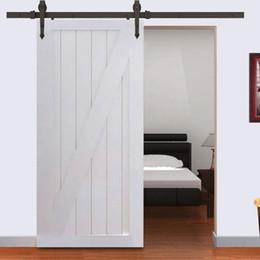 Trilhas de portas deslizantes on-line-Nova Moderna Aço De Madeira Deslizante Porta Celeiro Hardware Kit Set-6FT Preto
