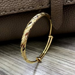 Wholesale 24k Gold Bracelets For Women - New Women Charming Brecelet Bangle Adjustable Size High Polished 24K Yellow Gold Plated Bracelet Bangle for Wedding Party BRC-067