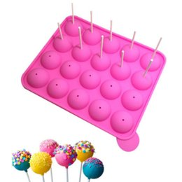 Wholesale Lollipops Molds - Wholesale- Lollipop Pop Molds Cake Chocolate Cookie Mould Silicone Bakeware DIY Stick Party Baking Tray Tools