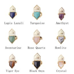 Wholesale chakra gemstone set - Wholesale 10PCS Natural Semi Precious stone Gemstone Chakra Healing Shield Rings Adjustable Women crystal Rings