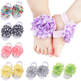 Wholesale Chiffon Sandals - Multicolor Baby Girls chiffon ripple Flower barefoot sandals infants cute herring bone big flowers shoes cover fashion Photography prop