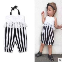 Wholesale Backless Halter Bodysuit - Lace Halter Jumpsuit Baby Romper 2017 Ins Clothes Baby Girl Striped Backless Romper Jumpsuit Baby Onesies Toddler Infant Outwear Bodysuit