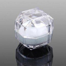 Wholesale Clear Plastic Studs - Acrylic Crystal Clear Ring Box Transparent 3Color Box Stud Earring Jewelry Case Gift Boxes Jewelry Packaging Fast shipping F2017858