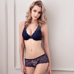 Wholesale deep v push up bra - new European and American women's underwear sexy lace thin shoulders gather exquisite care deep V adjustable bra set bra