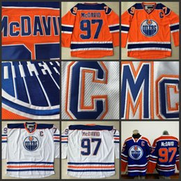 Wholesale Ice C - Cheap Hockey Jerseys Edmonton Oilers #97 Connor McDavid Jersey Captain C Patch High Quality Stiched Blue Orange White Free Shipping