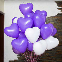 Wholesale 12 Inch Latex Balloons - 100 pcs 12 inch Heart-shap Latex Balloon Air Balls Inflatable Wedding Party Decoration Birthday Kid Party Float Balloons