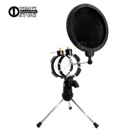 Wholesale Wire Clip Mic - Desktop Adjustable Pop Filter Clip Mikrofon Tripod Folding Karaoke Microphone Stand Windscreen Mask Shield PC Recording Mic Holder Clamp