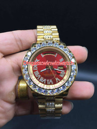 Wholesale Diamond Face - AAA big diamond automatic men's watch brand, high-quality stainless steel gold shell red face size 43mm. free delivery