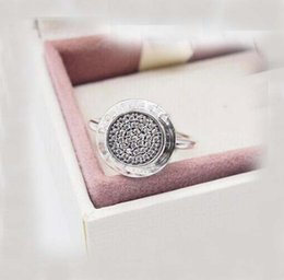Wholesale Silver Pave Rings 925 - newest Compatible with pandora Jewelry Silver Ring with logo Authentic 925 Sterling Silver round disc Ring with cz paved