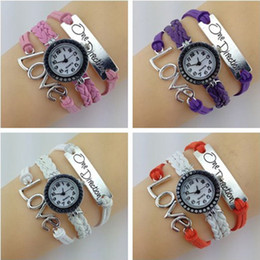Wholesale Loves Plastic Hooks - Newdesign 7 Colors Infinity Love Onedirection Watches DIY Weave bracelets Wristwatches for Women.Wrap Leather Wristbands watch Free shipping