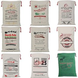 Wholesale Cotton Christmas Decorations - New 20colors Christmas Gift Bags Large Organic Heavy Canvas Bag Santa Sack Drawstring Bag With Reindeers Santa Claus Sack Bags for kid 4549