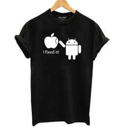 Wholesale Women Humor Shirt - Android Robot Print Women T shirt Humor Funny Cotton Casual Shirt For Lady Women T Shirts White Grey Black Top Tees