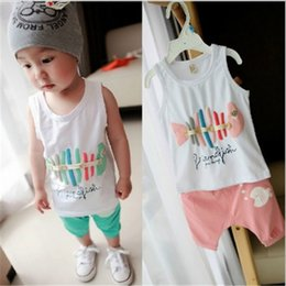 Wholesale Tank Tops Outfit Baby Boy - 2017 Summer Baby Boys Girls Clothing Sets Cartoon Fish Outfits For kids Tank Tops + Shorts Pants 2pcs Set Cotton Girl's Outfit Suits A6598