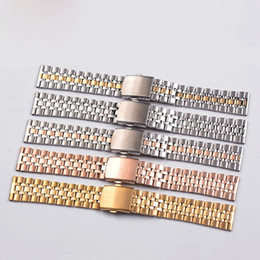Wholesale Applied Steels Stainless - Hot sale Ladies steel watch band strap apply five beads solid small form factor 10 12 14 16 18 20mm please leave a message of color you want