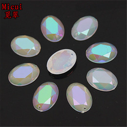 Wholesale Sew Back Flat Rhinestone - 100PCS 13*18mm new AB Jelly Oval Acrylic Rhinestones Flat Back Acrylic Beads Sew on 2 HOLE ZZ19