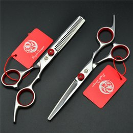 Wholesale dragon shears - Z1001 6'' Purple Dragon Red TOP GRADE Hairdressing Scissors Factory Price Cutting Scissors Thinning Shears professional Human Hair Scissors