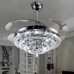 Wholesale Ceiling Lights Remote Control - LED Crystal Chandelier Fan Lights Invisible Fan Crystal Lights Living Room Bedroom Restaurant Modern Ceiling Fan 42 Inch with Remote Control