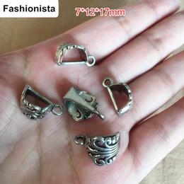 60 Slider Bills Antique Prata / Bronze Antigo Filigrana Titular Pingente com Anel Loop 7 * 12 * 17mm DIY Apreciação Jóias Vintage de Fornecedores de colar de cobre magnético