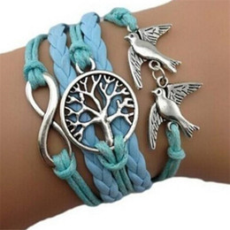 Wholesale Mens Leather Bracelet Wholesale China - Vintage Bracelet Handmade Leather Mens Jewelry Multilayer Bangle Combination Rope With Infinity Life Tree Double Peace Bird Mix in China