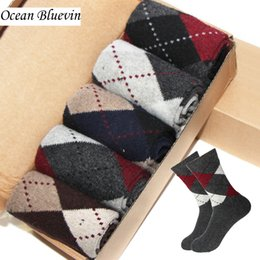 Wholesale Knitted Soft - Rabbit Wool Quality Knitted Men Socks Autumn Winter Warm Thick Style Business Casual Dotted Line Rhombus Pattern Soft Sock Meias