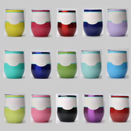 Wholesale Shaped Cups Glass - Egg Cups Powder Coated Stainless Steel Egg Shaped Beer Wine Glass 9oz 19 Colors Wine Cup Drinkware Mugs dhl free OTH522