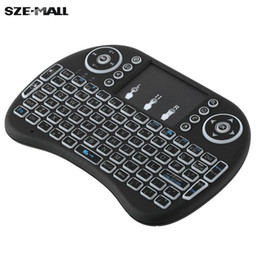 Wholesale Audio Control Android - 2.4GHz LED Backlit Wireless Keyboard with Touchpad Mouse Remote Control for Android TV BOX HTPC PC