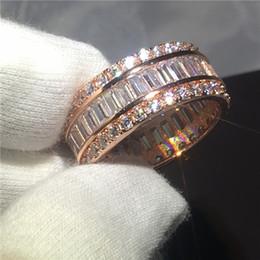Canal de bijoux on-line-Romântico anel de ajuste do canal de corte da princesa 5A zircão pedra Rose gold filled Anéis de casamento anéis de banda para as mulheres homens Bijoux