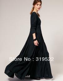 Wholesale Super Plus Club Dresses - Wholesale- Fashion royal exaggerated plus size S-XXXL vintage gothic o-neck ankle-length A-line black super long dress