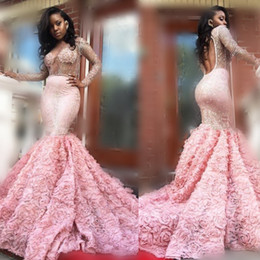 Wholesale Ruffled Evening Gowns - Gorgeous 2k17 Pink Long Sleeve Prom Dresses Sexy See Through Long Sleeves Open Back Mermaid Evening Gowns South African Formal Party Dress