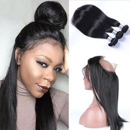 Wholesale Cheap Indian Remy Full Lace - 360 Full Lace Frontal Closure With 3 Bundles Brazilian Virgin Hair Weaves Straight Peruvian Indian Malaysian Cambodian Cheap Remy Human Hair