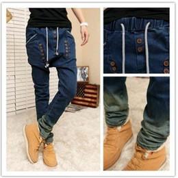 Wholesale Design Dance Pants - Wholesale-NEW Indoor Design button thicken joggers Men's cowboy pants hip hop street Denim trousers slim fit men dance pantalones hombre