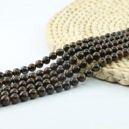 Wholesale Pink Gem Stones - Genuine Bronzite Beads Gems Beading Supplies Brown Gemstone 4 6 8 10mm 15 inch Strand Per Set L0584#