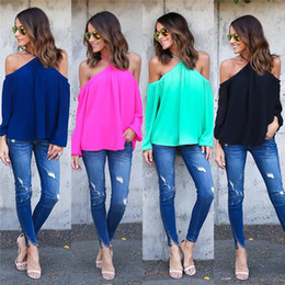 Wholesale Halter Candy - 2017 new fashion women lady casual autumn candy color long-sleeve chiffon sexy halter off shoulder shirt blusas blouse tops