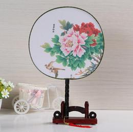 Wholesale Wooden Handled Fans - The art retro wooden handle uchiwa fan house China wind Hanfu costume round fan Free shipping