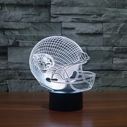 Wholesale Led Light Helmet - Free Shipping football helmet model for American football team 3D led night light