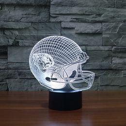 Wholesale Football Led Night Light - Free Shipping football helmet model for American football team 3D led night light