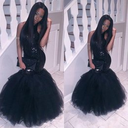 vestido sexy de lily collins Rebajas Black Girl 2K19 Vestidos de fiesta Lentejuelas con cuello halter Topped Mermaid Backless Dubai Fiesta Longo Vestidos de fiesta 2019 vestidos de fiesta