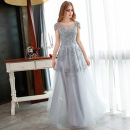 Wholesale Grey Chiffon Flowers - Wholesale Evening Dress Fashion Long Evening Dresses Grey Lace Embroidery Beading Applique Party Gown Bridal Banquet Prom Dress